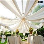 40ft Premium White Fire Retardant Sheer Voile Curtain Ceiling Panel Backdrop