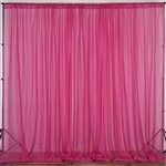 10ft x 10ft Fire Retardant Sheer Voil Premium Curtain Panel Backdrops - Fushia
