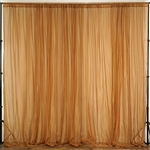 10ft x 10ft Fire Retardant Sheer Voil Premium Curtain Panel Backdrops - Gold