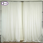 5ft x 10ft Fire Retardant Sheer Organza Premium Curtain Panel Backdrops - Ivory - Set Of 2