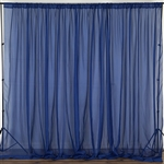 10ft x 10ft Fire Retardant Sheer Voil Premium Curtain Panel Backdrops - Navy Blue