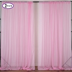 5ft x 10ft Fire Retardant Sheer Organza Premium Curtain Panel Backdrops - Pink - Set Of 2