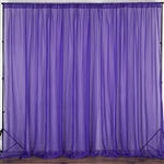 10ft x 10ft Fire Retardant Sheer Voil Premium Curtain Panel Backdrops - Purple