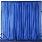 10ft x 10ft Fire Retardant Sheer Voil Premium Curtain Panel Backdrops - Royal Blue