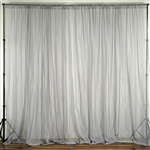 10ft x 10ft Fire Retardant Sheer Voil Premium Curtain Panel Backdrops - Silver