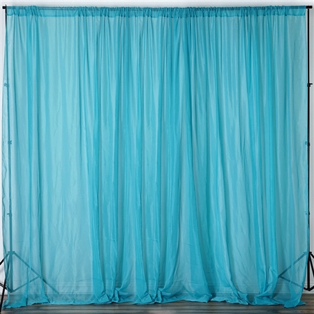 10ft x 10ft Fire Retardant Sheer Voil Premium Curtain Panel Backdrops - Turquoise