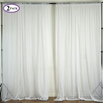 5ft x 10ft Fire Retardant Sheer Organza Premium Curtain Panel Backdrops - White - Set Of 2