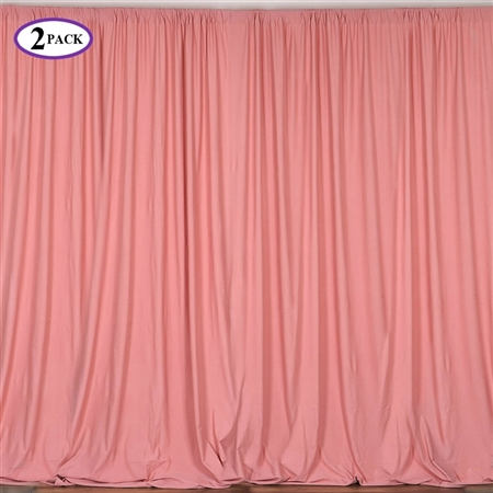 5ft x 10ft Rose Quartz Fire Retardant Polyester Curtain Panel Backdrops Window Treatment with Rod Pockets - Set Of 2