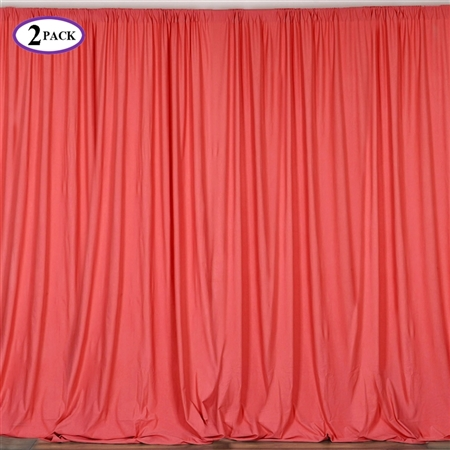 5ft x 10ft Coral Fire Retardant Polyester Curtain Panel Backdrops Window Treatment with Rod Pockets - Set Of 2