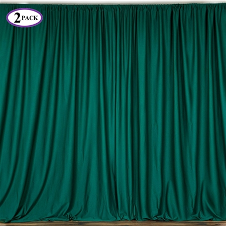 5ft x 10ft Hunter Green Fire Retardant Polyester Curtain Panel Backdrops Window Treatment with Rod Pockets - Set Of 2