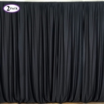 5ft x 10ft Black Fire Retardant Polyester Curtain Panel Backdrops Window Treatment with Rod Pockets - Set Of 2