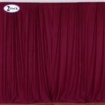 5ft x 10ft Burgundy Fire Retardant Polyester Curtain Panel Backdrops Window Treatment with Rod Pockets - Set Of 2