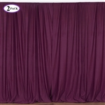 5ft x 10ft Eggplant Fire Retardant Polyester Curtain Panel Backdrops Window Treatment with Rod Pockets - Set Of 2
