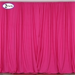 5ft x 10ft Fushia Fire Retardant Polyester Curtain Panel Backdrops Window Treatment with Rod Pockets - Set Of 2