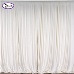 5ft x 10ft Ivory Fire Retardant Polyester Curtain Panel Backdrops Window Treatment with Rod Pockets - Set Of 2