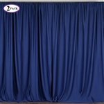 5ft x 10ft Navy Fire Retardant Polyester Curtain Panel Backdrops Window Treatment with Rod Pockets - Set Of 2