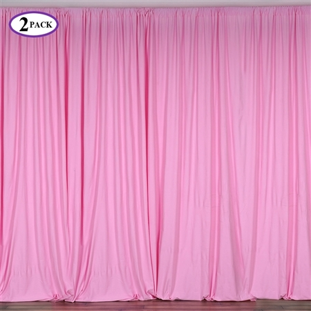 5ft x 10ft Pink Fire Retardant Polyester Curtain Panel Backdrops Window Treatment with Rod Pockets - Set Of 2