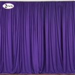 5ft x 10ft Purple Fire Retardant Polyester Curtain Panel Backdrops Window Treatment with Rod Pockets - Set Of 2
