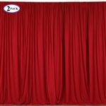 5ft x 10ft Red Fire Retardant Polyester Curtain Panel Backdrops Window Treatment with Rod Pockets - Set Of 2