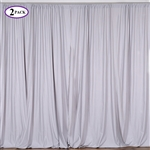 5ft x 10ft Silver Fire Retardant Polyester Curtain Panel Backdrops Window Treatment with Rod Pockets - Set Of 2
