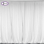 5ft x 10ft White Fire Retardant Polyester Curtain Panel Backdrops Window Treatment with Rod Pockets - Set Of 2