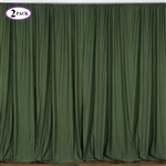 5ft x 10ft Willow Green Fire Retardant Polyester Curtain Panel Backdrops Window Treatment with Rod Pockets - Set Of 2