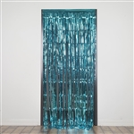 3ft x 8ft Sparkling Metallic Foil Fringe Curtain - Turquoise