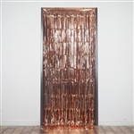 3ft x 8ft Sparkling Metallic Foil Fringe Curtain - Rose Gold