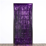 3ft x 8ft Sparkling Metallic Foil Fringe Curtain - Purple