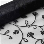 "12"" x 10 Yards Velvet Embroidery on Organza Fabric Bolt - Black"