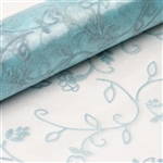 "12"" x 10 Yards Velvet Embroidery on Organza Fabric Bolt - Light Blue"