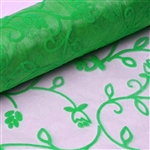 "12"" x 10 Yards Velvet Embroidery on Organza Fabric Bolt - Emerald Green"