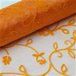 "12"" x 10 Yards Velvet Embroidery on Organza Fabric Bolt - Orange"