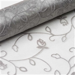 "12"" x 10 Yards Velvet Embroidery on Organza Fabric Bolt - Silver"