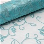 "12"" x 10 Yards Velvet Embroidery on Organza Fabric Bolt - Turquoise"