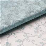 "54"" x 10 Yards Velvet Embroidery Sheer Organza Fabric Bolt - Light Blue"
