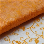 "54"" x 10 Yards Velvet Embroidery Sheer Organza Fabric Bolt - Orange"