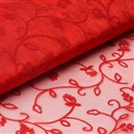"54"" x 10 Yards Velvet Embroidery Sheer Organza Fabric Bolt - Red"
