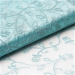 "54"" x 10 Yards Velvet Embroidery Sheer Organza Fabric Bolt - Turquoise"