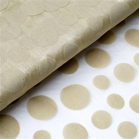 "54"" x 10 Yards Velvet Dots Sheer Organza Fabric Bolt - Champagne"