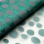 "54"" x 10 Yards Velvet Dots Sheer Organza Fabric Bolt - Emerald Green"