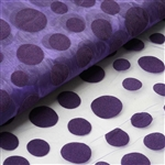 "54"" x 10 Yards Velvet Dots Sheer Organza Fabric Bolt - Purple"