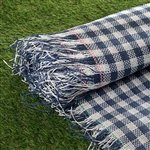 "54"" x 4 Yards Premium Raffia Picnic Party Upholstery Fabric Bolt - White/Navy"