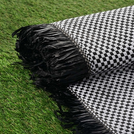 "54"" x 4 Yards Premium Raffia Picnic Party Upholstery Fabric Bolt - Black/White"