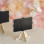 Mini Wooden Chalkboard Table Displays Message Board Signs With Removable Stands - 10 Pack