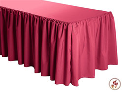 FR Shirred Polyester Table Skirts - 6 Foot Table (3 sides covered) - 11 foot section