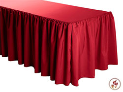 FR Shirred Polyester Table Skirts - 6 Foot Table (All Sides Covered) - 17 Foot Section