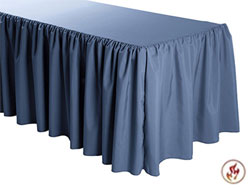 FR Shirred Polyester Table Skirts - 8 Foot Table (3 Sides Covered) - 13 Foot Section
