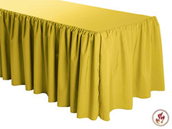 FR Shirred Polyester Table Skirts - 8 Foot Table (All Sides Covered) - 21 Foot Section