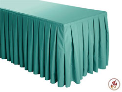 FR Box Pleat Polyester Table Skirts - 6 Foot Table (3 sides covered) - 11 foot section